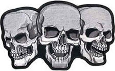 Iron On/ Sew On Embroidered Patch Badge Skull Skulls Trio Three Skulls Large
