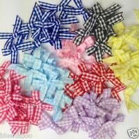 25 gingham bows 30mm x 25mm red blue pink lilac black yellow