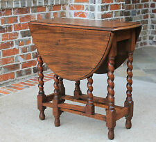 Antique English Honey Oak Gate Leg Drop Leaf Barley Twist Sofa Lamp End Table