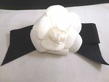 "Auth CHANEL Camelia Corsage Flower Brooch BOW  White/ BLACK  Vintage 3.5"" BUD"
