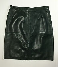 Gonna genny vintage vera pelle artigianale skirt leather TG 44/46 verde usato