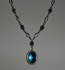 VICTORIAN STYLE TURQUOISE ACRYLIC CRYSTAL SILVER PLATED ROSE PENDANT NECKLACE RS