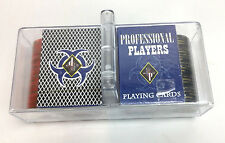 New PP PROFESSIONAL PLAYERS Dealer Playing Cards & Poker Chips Set Carrying Case