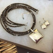SILPADA Sterling Silver Square Pendant S1118, Earrings W1970 & Necklace N1591
