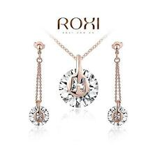 18CT 18K Rose Gold Plated AAA Zircon Pendant Necklace Earrings SET Party Fashion