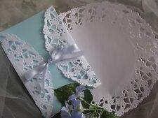 "8"" INCH WHITE PAPER ELEGANT WEDDING SCROLL LACE DOILIES 25 PCS USA ROUND INVITE"