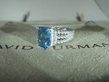 AUTHENTIC DAVID YURMAN SILVE 10X8MM BLUE TOPAZ PETIT WHEATON DIAMOND RING SIZE 6