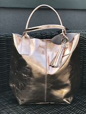 LAGENLOOK NEW METALLIC ROSE GOLD LEATHER TOTE BAG WITH TASSEL AND INSIDE PURSE