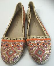 House Of Harlow 1960 Kat Espadrille Flats Leather Canvas Gold Size 39