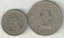 2 COINS w/ SHIPS..the BRITISH EAST CARIBBEAN TERRITORIES..10 & 25c..BOTH 1965