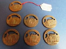 "100 Year Old FRENCH  ""Chateau De Loches"" Brass Stamped Medallions Fobs Jewelry"
