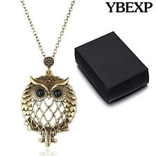 Gold Finish Chain Owl Design Magnifying Glass Pendant Necklace