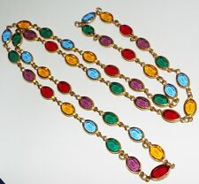 Vintage bezel set crystal NECKLACE oval multi color jewel tones costume jewelry