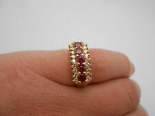 Stunning Vintage 14K Solid Gold Natural Red Ruby & Diamond Band Ring Size 6.25