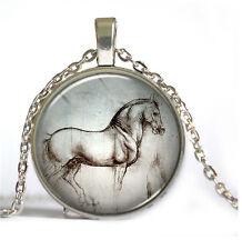 1pcs Horses Cabochon Tibetan silver Glass Chain Pendant Necklace D#0244