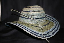 Sun and Sand Bohemian Floppy Hat Mutli colors Blues and Rustic Green