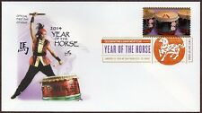 2014 YEAR OF THE HORSE LUNAR NEW YEAR ~ ART CRAFT DCP CANCEL FIRST DAY COVER