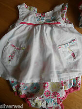 MOTHERCARE WHITE COTTON DRESS FLORAL PANT IN ONE Make own bundle COMBINE POSTAGE