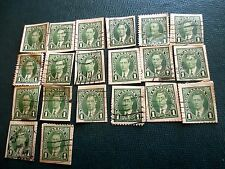Lot 20 Vtg 1937 Canada 1c green Used King George 1c Postage Stamps