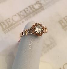 Antique Victorian 14k rg Old Mine Cut Diamond Buttercup top ring .20 ct K-I1 siz