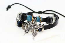 Womens Jewelry Infinity Leather Charm Bracelet Silver Beads Style