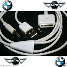 Auto Bmw Mini Cooper Aux Audio Usb Y Cable Para Ipod Ipad Iphone 4 4s 3g 3gs 3.5 mm
