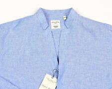 Men's MURANO Blue Open Neck Sexy Linen Shirt Large L Slim Fit NEW NWT HOT!!
