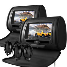 "7"" Leather-Style DVD/USB/SD Headrest Screens VW/Jaguar/Lexus/Audi/Mercedes/BMW"
