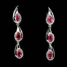 Sterling Silver 925 Genuine Natural Rich Pink Ruby & Lab Diamond Earrings
