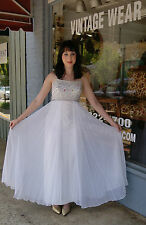 Mid Century Vintage JR. THEME 60's Beaded White Formal Prom Dress Gown- Size 2-4