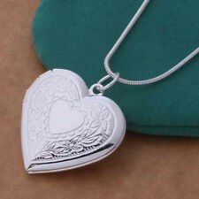 Women Silver Plated Charm Heart Pendant Necklace Photo Frame Locket