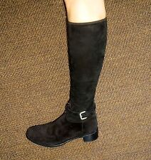 RARE!980£!CHIC MINIMALISM PRADA EMBROIDERED BLACK SUEDE BOOTS