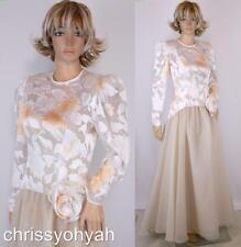 VTG 70s Sheer Mesh Net Embossed Tan Chiffon Asym Full Skirt Formal Prom Dress