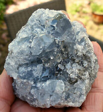 BLUE CELESTITE ROUGH UNPOLISHED LARGE CRYSTAL DRUZY GEODE 70mm x 65mm 376gram