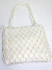 "Evening Small Purse /Beaded Satin-lined White Bag D- 2"",  H- 6"".L-5"" NEW"