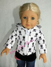 "American Girl 18"" Doll Clothes Hoodie Jacket Scary Cute Monster High Skull Dress"