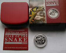 2013 Australia YEAR OF THE SNAKE Silver Proof Color Lunar .50 Coin 1/2oz COA OGP