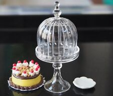 Dollhouse Miniatures Glass Bell Shaped Cake Cover Stand Vanilla Cake Food 1:12