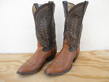 Mens Tony Lama Western Cowboy Boots Sz 9D Brown 2-Tone Leather Made in USA