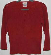 TALBOTS Long Sleeved V Neck RED Rib Knit Sweater L Large