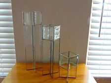 Set of 3 Tall Bevel Leaded Clear Glass Candle or Votive Tea Light Holders