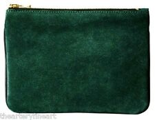 BALMAIN x H&M Women's Small Suede & Leather Clutch / Cosmetic Bag Green **NWT**