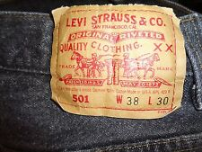 LEVI'S VTG USA BLACK FUZZY WASH COPPER BUTTON 501 JEANS 38X30 XLNT!!