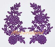 PAIR of Purple Guipure Venise Lace Applique Trims Flower Motif Craft VL14E