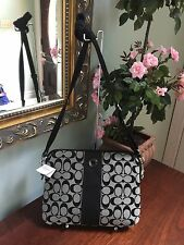 New Coach Signature Tablet Cross-body Bag - #F63219 - Black White/Black  B11