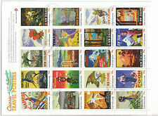 NEW ZEALAND 2013 CLASSIC TRAVEL POSTERS SHEET OF 20 FINE USED