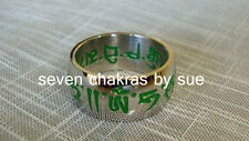 Feng Shui - Size 11 Thick Green Mantra Ring (Fulfillment of Wishes)
