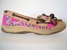 Sperry Top Sider Girls 5M Angelfish Tan Leather Pink Leopard Sequin Boat Shoes