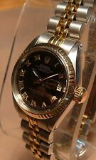 ROLEX OYSTER PERPETUAL DATEJUST BLACK PYRAMID DIAL 18k/ss GOLD LADIES WATCH 1981