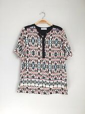 VELVET By Graham & Spencer Short Sleeve Printed Challis Top Black Multi S $99
